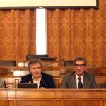un momento della conferenza stampa di presentazione del programma a Ca'Farsetti (da sx: Piero Rosa Salva, Luigi Brugnaro, Marco Maccapani, Fabrizio D'Oria